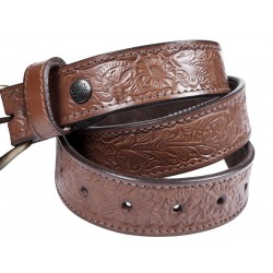 Flower Design Leather Belt